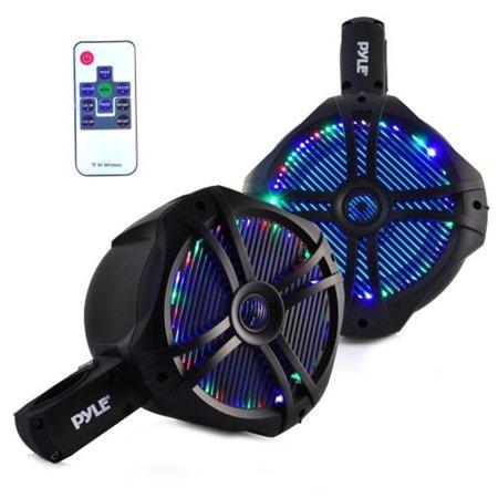 """(PYLE PLMRWB85LEB - Waterproof Marine Wakeboard Tower Speakers - 8in Dual Subwoofer Speaker Set and 1"""" Tweeter - 1 Pair (Black))"""