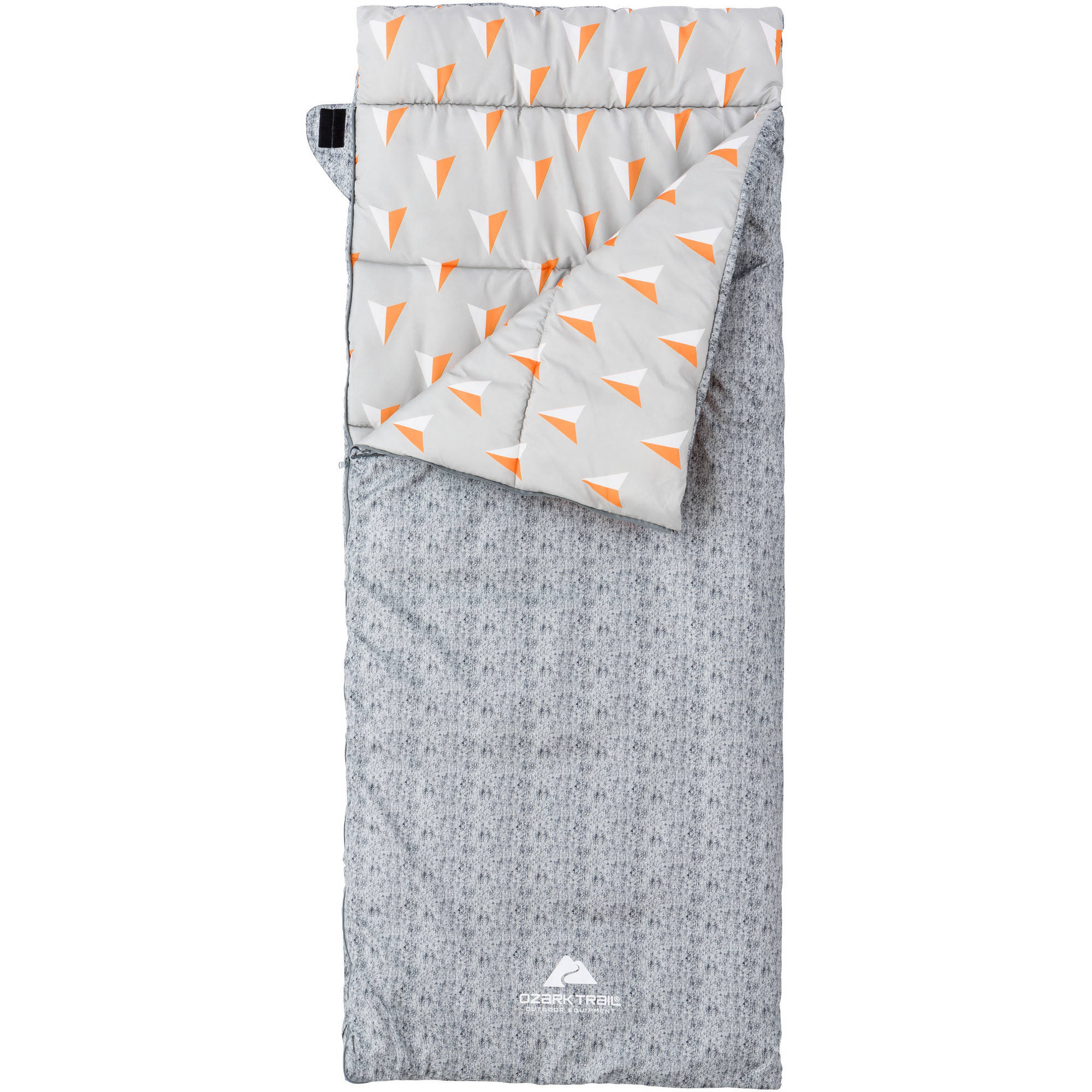Ozark Trail Deluxe 50-Degree Warm Weather Youth Sleeping Bag, Gray and Orange