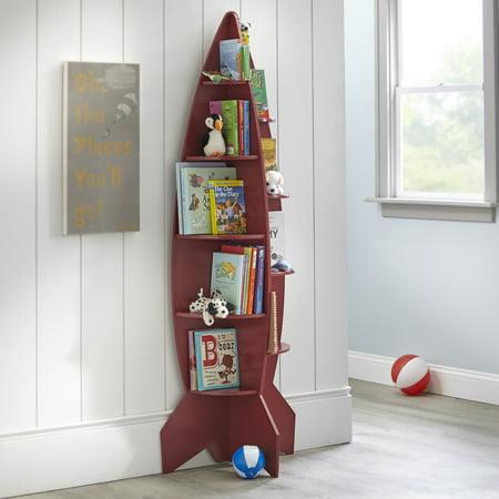 Mainstays Kids Rocket Shaped Bookshelf, Red or Blue ()