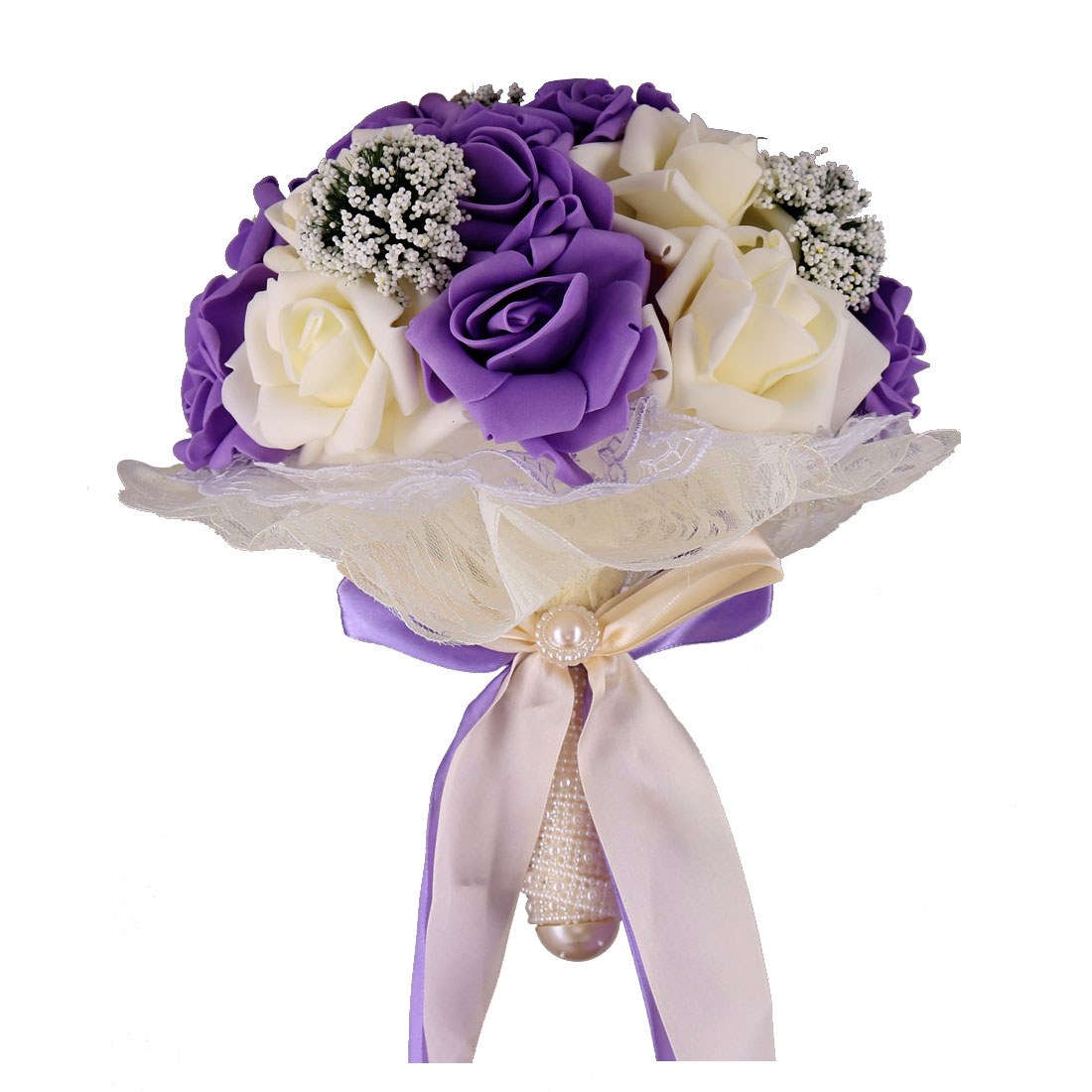 Wedding Foam Bowknot Decor Rose Handhold Bouquet Purple Light Yellow 9 Inch Dia