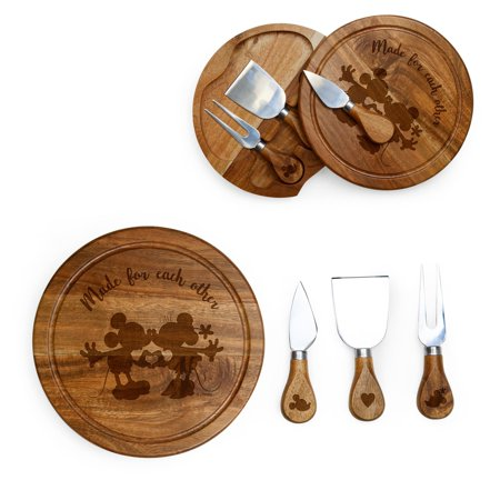 Picnic Time Mickey and Minnie Mouse Acacia Brie Cheese Board and Tools Set