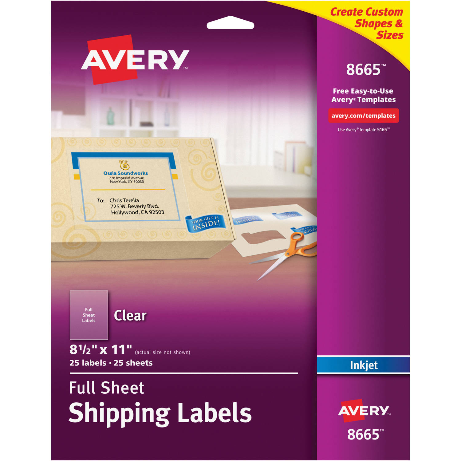"Avery Clear Full-Sheet Labels for Inkjet Printers 8665, 8-1/2"" x 11"", Pack of 25"
