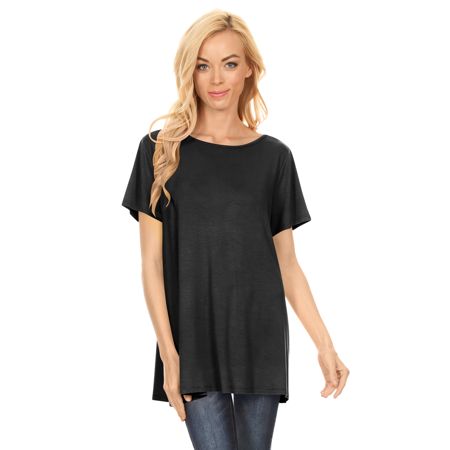 Short Sleeve Flowy Tunic Tops For Women A Line Flared Loose Fit Swing Top   Usa