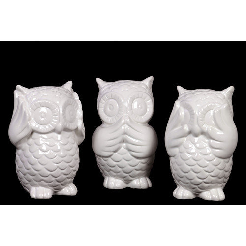 Urban Trends Collection 46607-AST Ceramic Owl No Evil, Gloss White, Assortment of Three