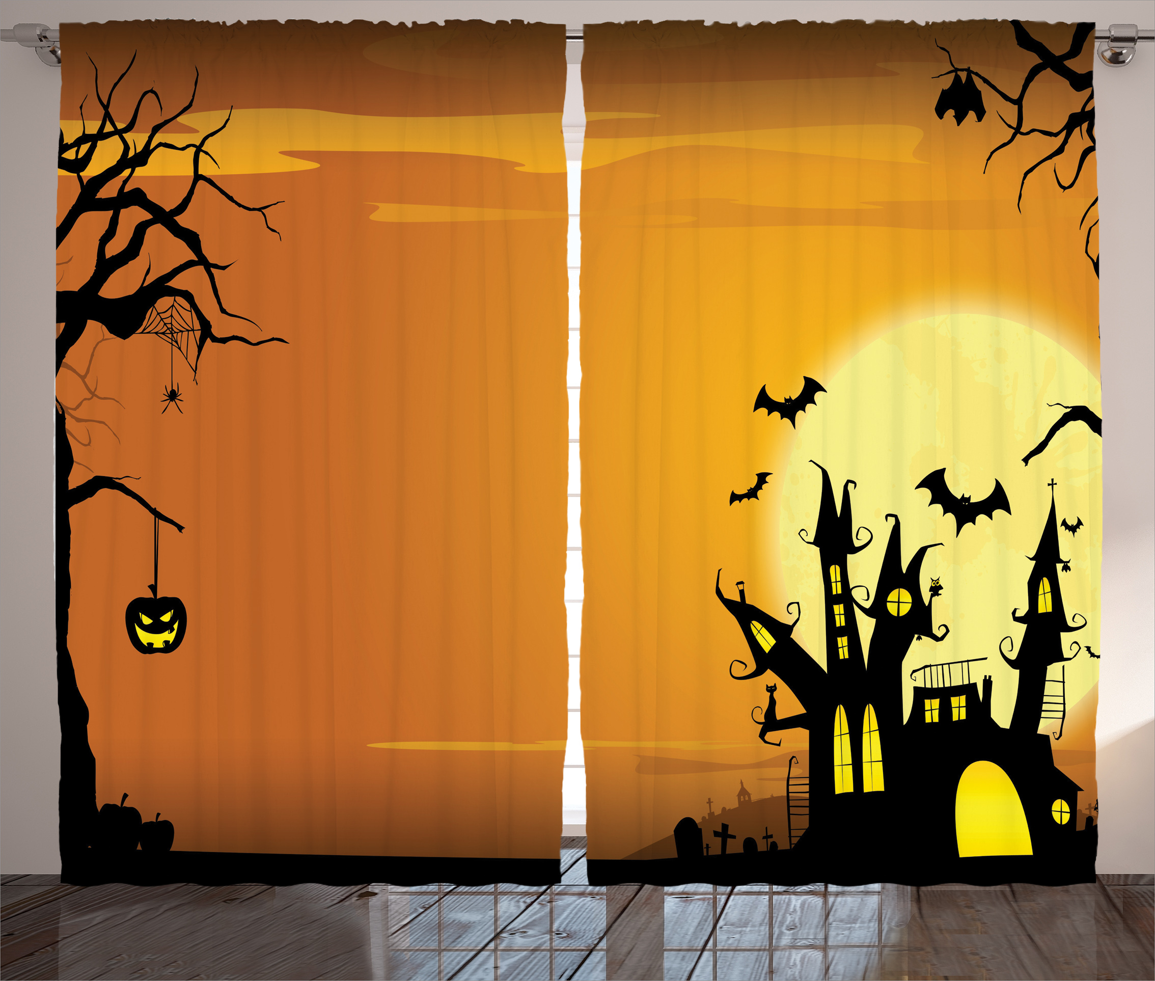 Ambesonne Halloween Decorations Collection Gothic Haunted House Theme Flying Bats Western Spooky Night Scene With