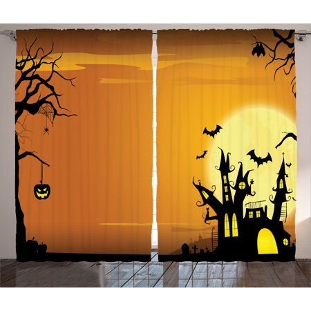 Ambesonne Halloween Decorations Collection, Gothic Haunted House Theme Flying Bats Western Spooky Night Scene with Pumpkin, Window Treatments, Living Room Bedroom Curtain 2 Panels Set, Orange Black