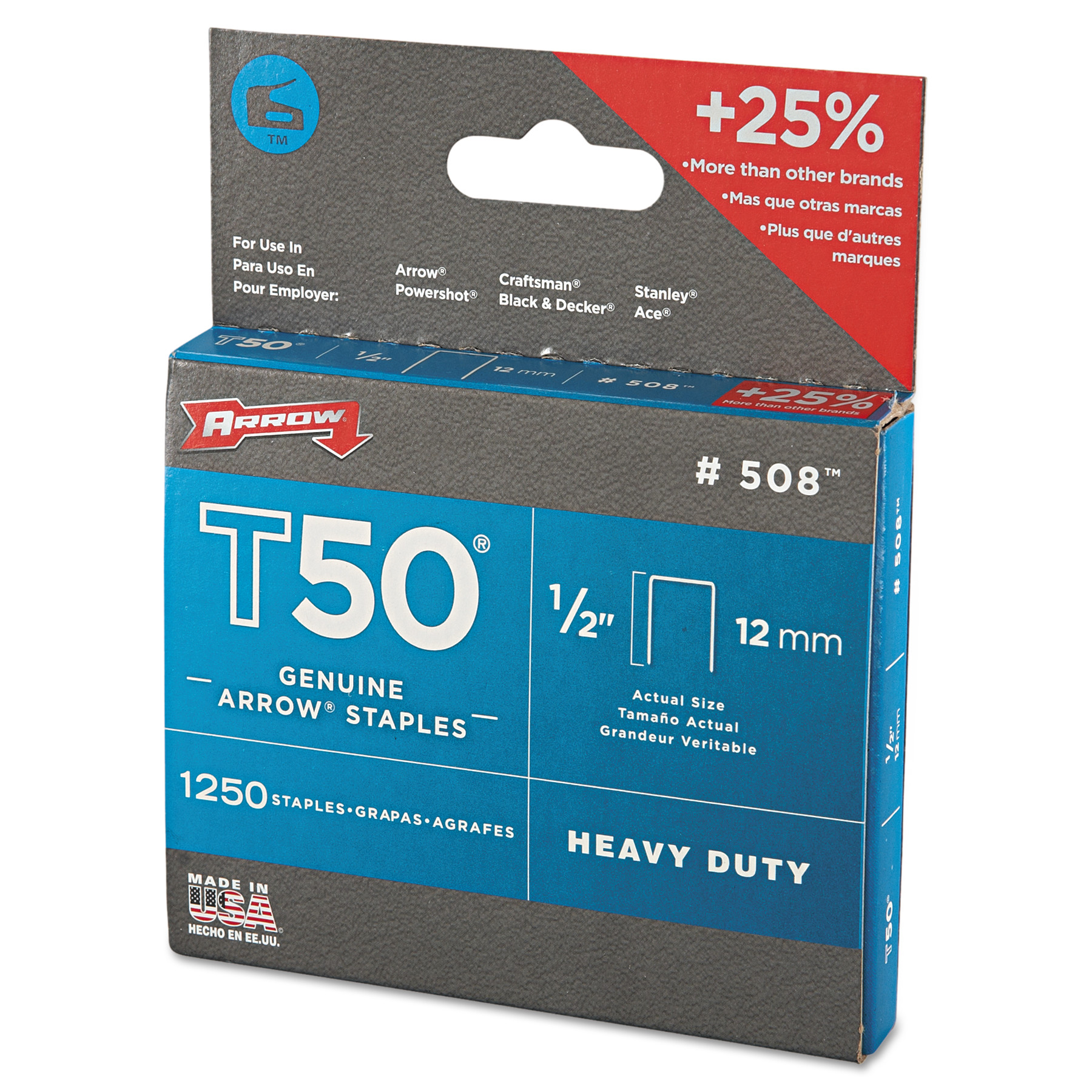 "arrow t50 heavy duty staples 1 2"" leg walmart"