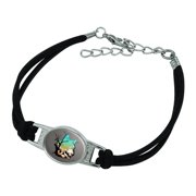 Wolf Mountain Optical Illusion Novelty Suede Leather Metal Bracelet