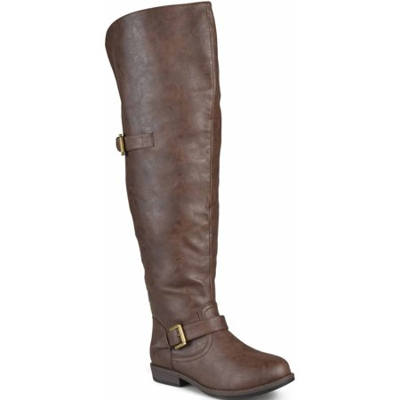 Women's Wide-Calf Over-the-Knee Buckle Studded Boots