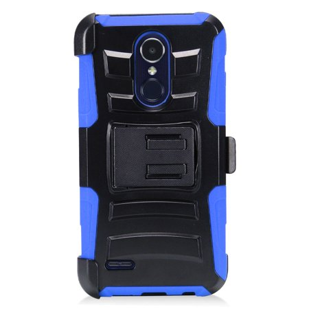For LG Aristo 2 / LG Tribute Dynasty / LG K8 (2018) / LG Fortune 2 / LG Zone 4 (2018) Case Advanced Armor Hybrid Soft Silicone Phone Cover Kick Stand w/ Holster (Black/Blue)