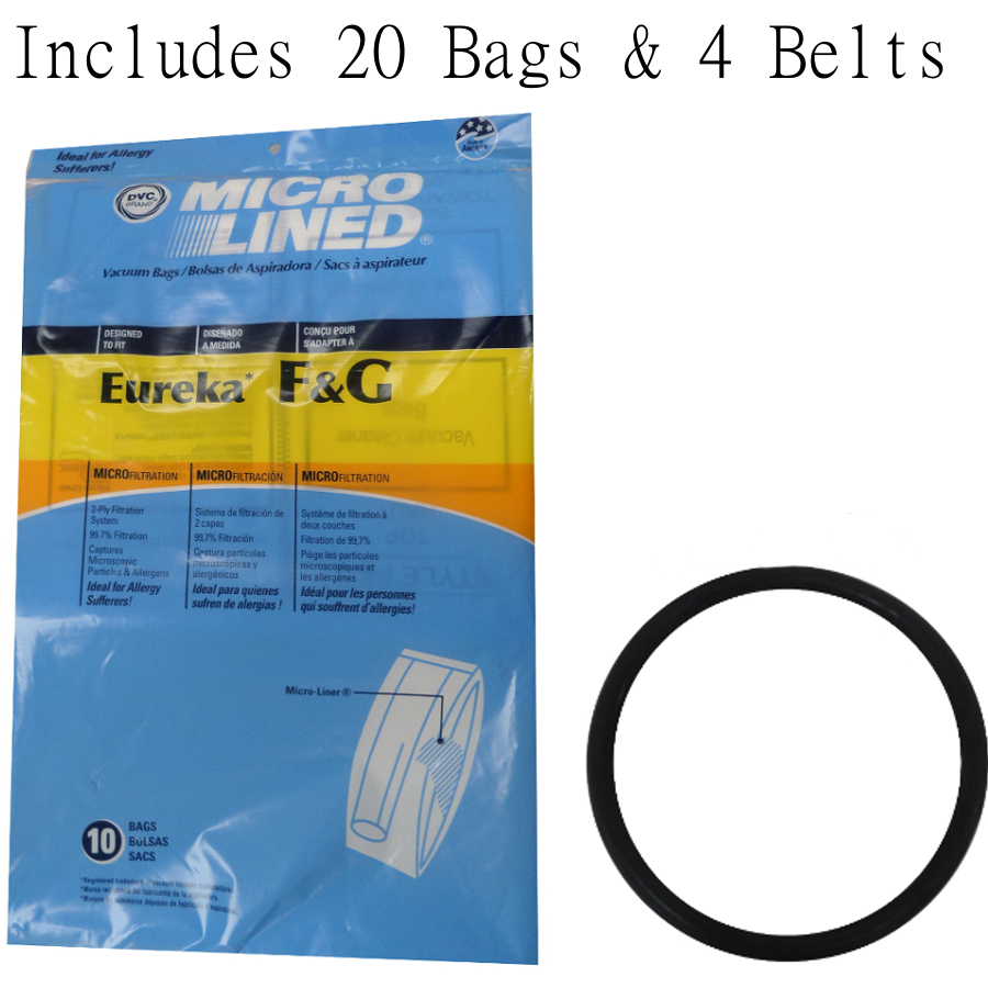 20 Bags for Eureka Style F&G Vacuum Cleaner F G Sanitaire Commercial + 4 Belts