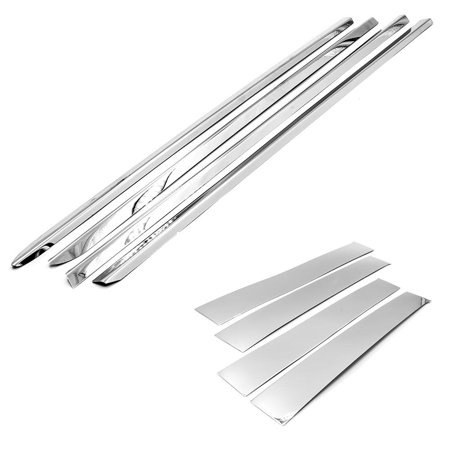 Sizver Chrome Combo Set Stainless Steel Window Sills+Pillar Posts Trims Covers For 2009-2017 Dodge Ram 4DR CREW/MEGA CAB
