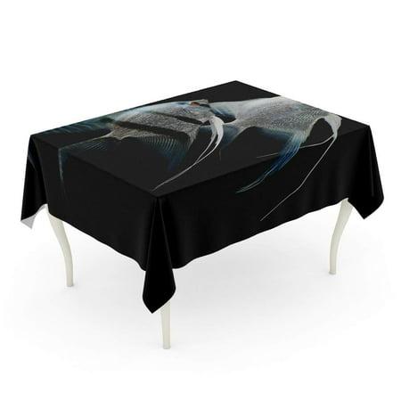 SIDONKU Silver Angelfish Angel Fish Freshwater Aquarium Black Scalar Aquatic Tablecloth Table Desk Cover Home Party Decor 60x120