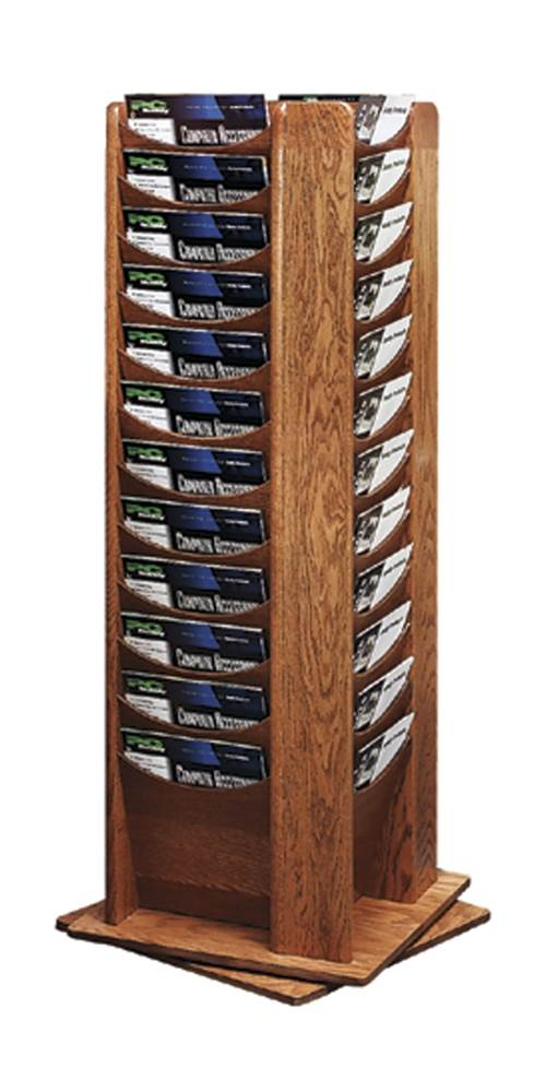 48 Pocket Oak Rotating Display Rack (Medium Oak) by Sandusky Buddy
