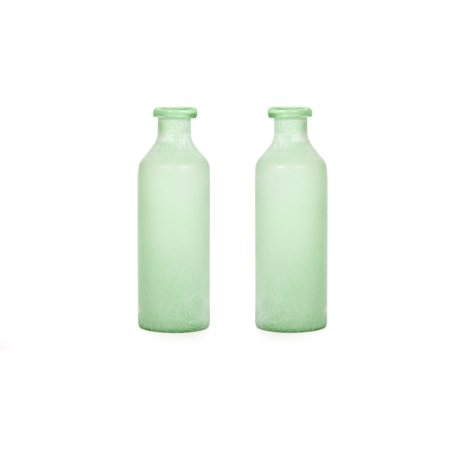 Greek Glass - Hosley's Set of 2 Large Green Salted Glass Vases - 13.5' High. Ideal for storage, Americana, Nautical, Spa, Aromatherapy, Votive Candle Gardens