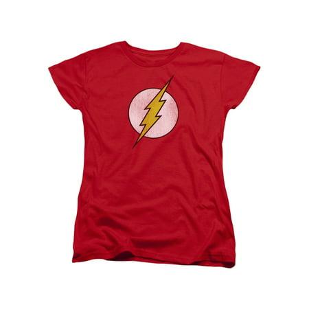 DC Comics Flash Classic Distressed Lightning Bolt Logo Red Women's (Womens Flash)