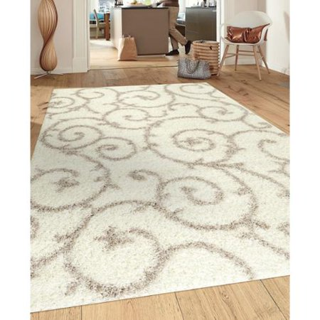 Porch And Den Marigny Decatur Cream White Indoor Shag Area Rug  53 X 73