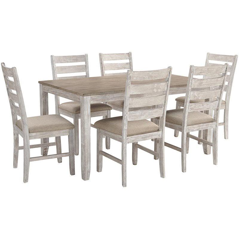 Ashley Furniture Skempton 7 Piece Dining Set In White And Light Brown Walmart Com Walmart Com