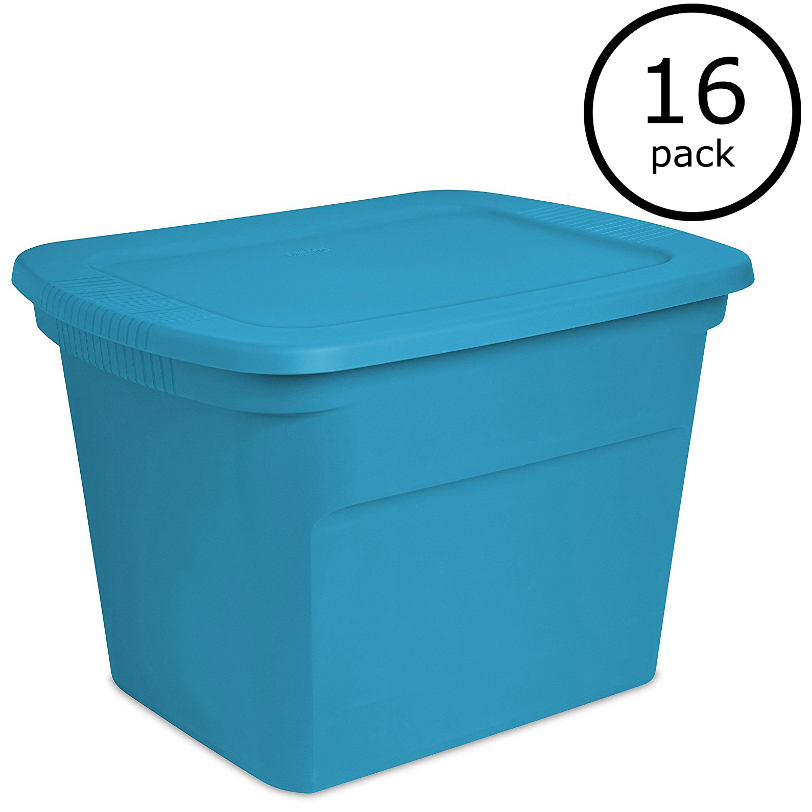Sterilite 18 Gallon Plastic Container Storage Tote Box, Blue Aquarium (16 Pack)
