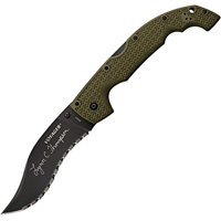 Cold Steel Thompson Voyager Folding Knife, Serrated Edge, CTS® XHP Steel with DLC Coating and Griv-Ex handle