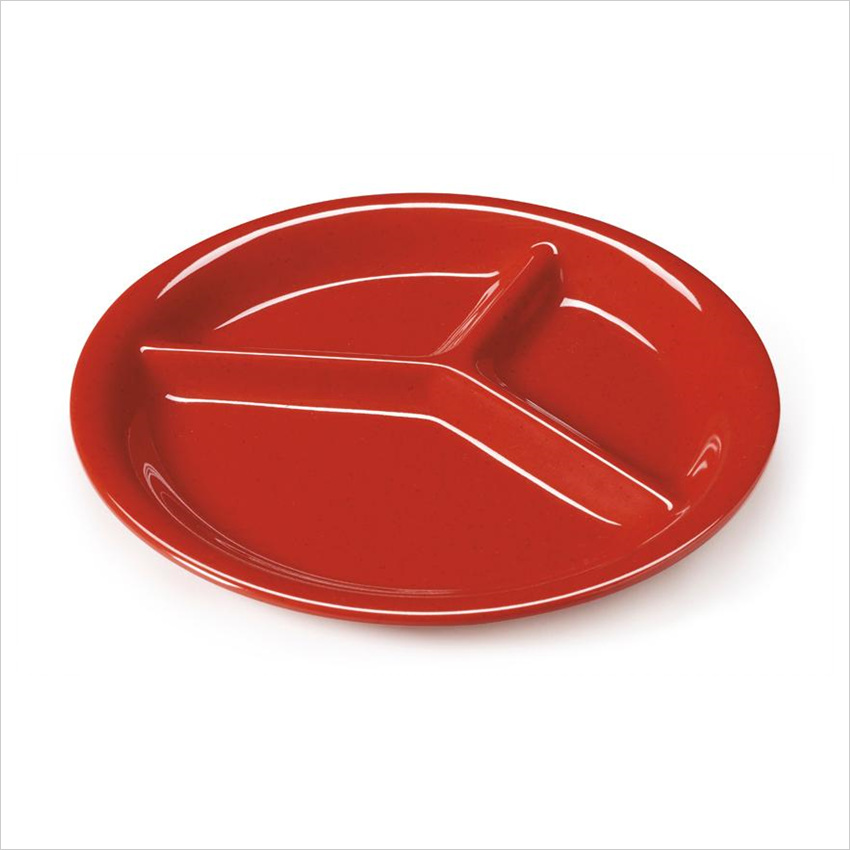Red Sensation 10.25 inch 3 Compartment Plate Melamine/Case of 12