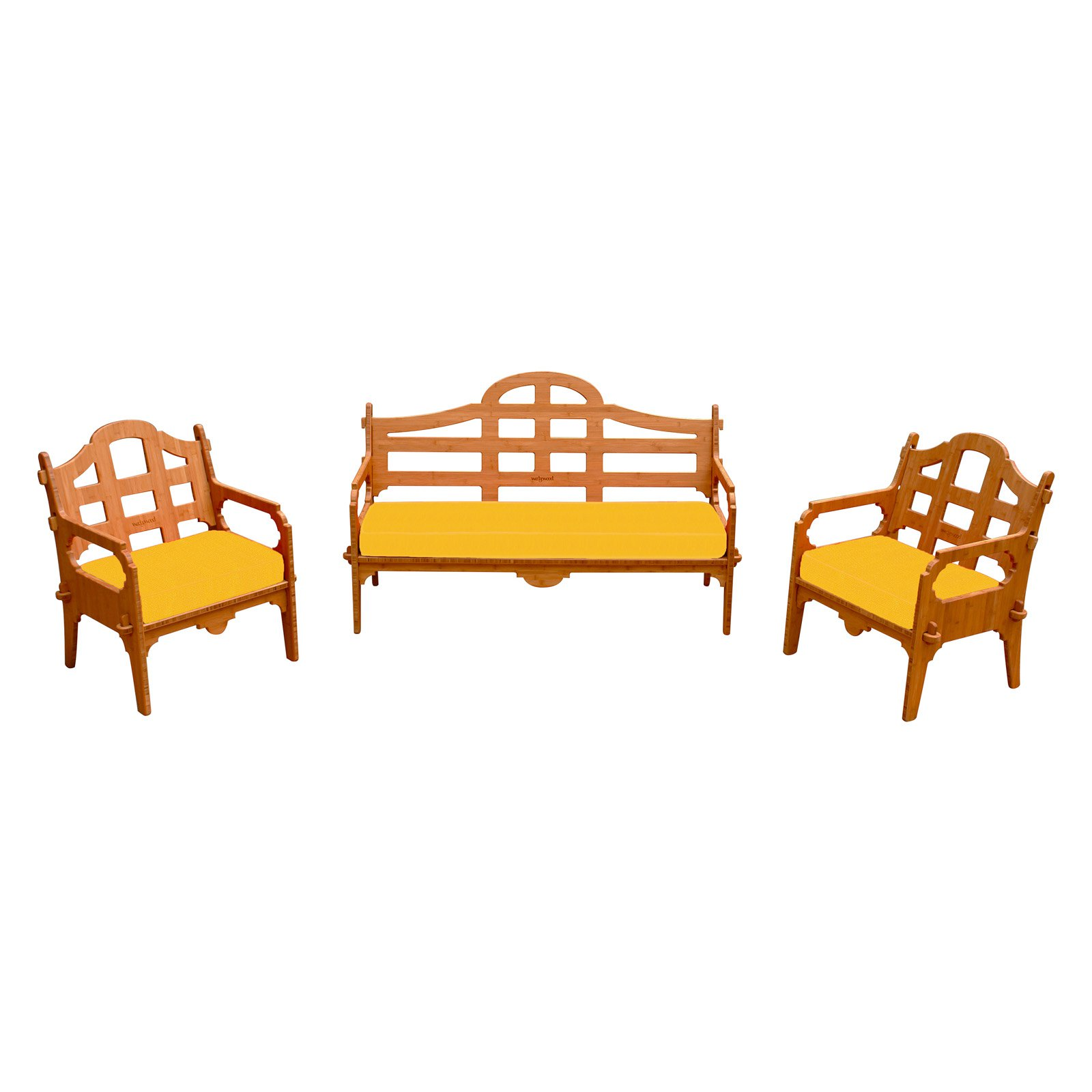 Wedgewood Furniture Palladian Bamboo 3 Piece Patio Conversation Set