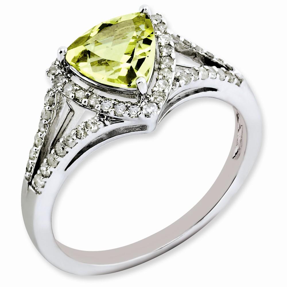 925 Sterling Silver Diamond Lemon Quartz Ring