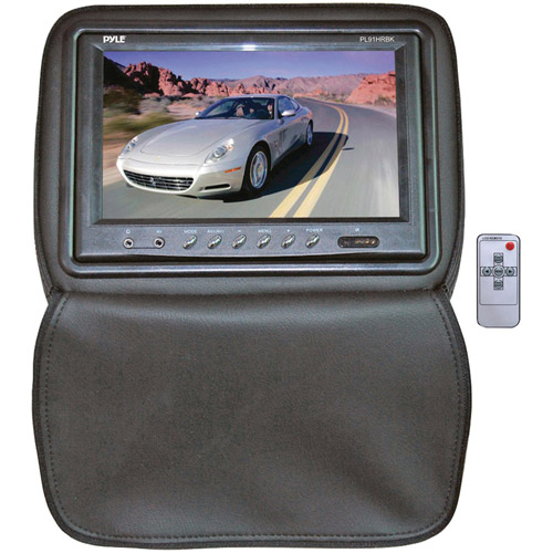 Adjustable Headrests w/ Built-In 9'' TFT/LCD Monitor W/IR Transmitter & Cover (Black)