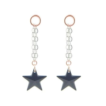 Fronay Co .925 Sterling Silver Black Swarovski Crystal Star Dangling Chain Earrings