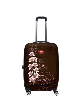 Nuki 011020 Front Accessible Luggage Lightweight Spinner, Orchilds on Brown - 20 in.