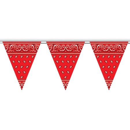 All Weather Red And White Bandana Pennant Banner Flags With String Decoration