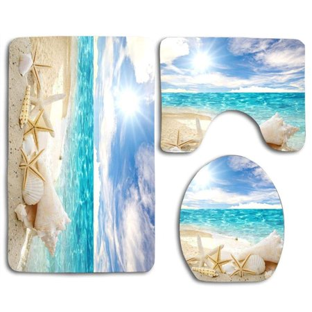 GOHAO Beach Theme Seashell 3 Piece Bathroom Rugs Set Bath Rug Contour Mat and Toilet Lid Cover (Beach Bath Rugs Set)