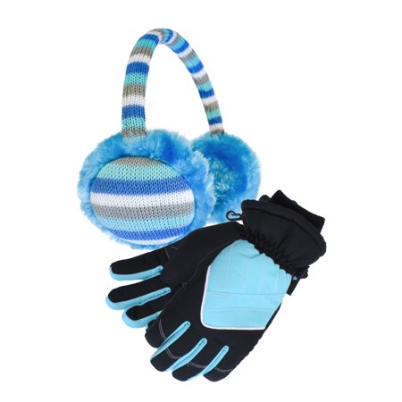 Cold Front Kid's Stripe Earmuff and Ski Sports Glove Bundle](Long Blue Satin Gloves)