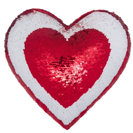 Mermaid throw pillow, two Reversible Sequin color Heart shaped decorative with pillow insert, 13''×15'' (Red & White)