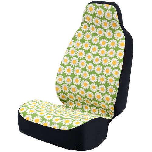 Coverking Universal Seat Cover Fashion Print, Ultra Suede, Daisy Crazy White Flowers and Green Background with Black Interlock Backing