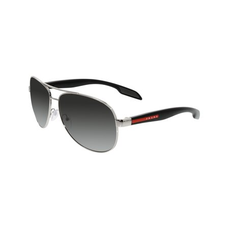 691f3270f2c Prada Men s Polarized PS53PS-1BC5W1-62 Silver Aviator Sunglasses Image 1 ...