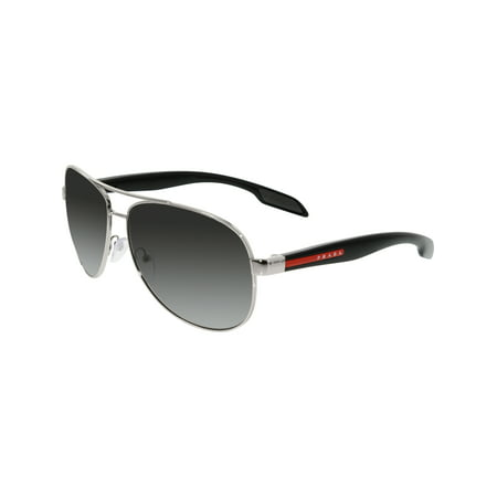 Prada Men's Polarized PS53PS-1BC5W1-62 Silver Aviator (Prada Polarized Aviator Sunglasses)