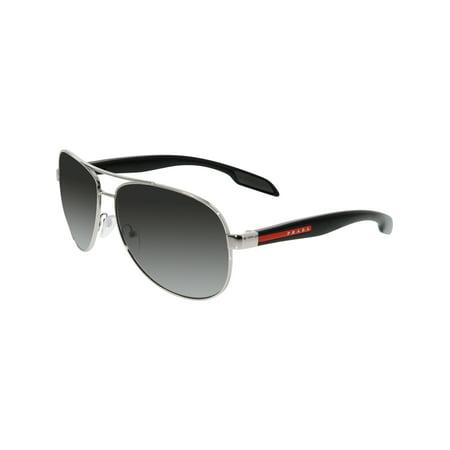 49a3703768f9 Prada Men's Polarized PS53PS-1BC5W1-62 Silver Aviator Sunglasses - image 3  ...