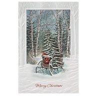 Set of 16 Sleigh and Winter Scene Christmas Greeting Card 5.25 x 8.5