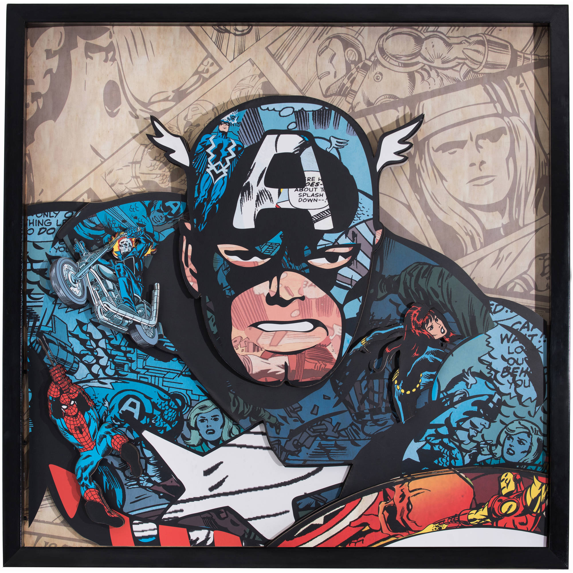 Marvel Comics Captain America Handmade Collage in Shadowbox Frame Wall Artwork by Marvel