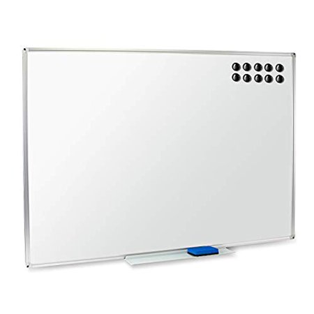Non Magnetic Aluminum Markerboard - Magnetic Dry Erase Whiteboard & Bulletin Board – 48 x 36 – Detachable Marker Tray for Horizontal or Vertical Use – Eraser & 10 Magnets Included – Display & Organize at Home, Office or School