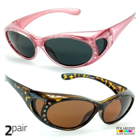 cd5cbd2256 Sunny Shades - 2 PAIR POLARIZED Rhinestone cover put over Sunglasses wear Rx  glass driving to P - Walmart.com