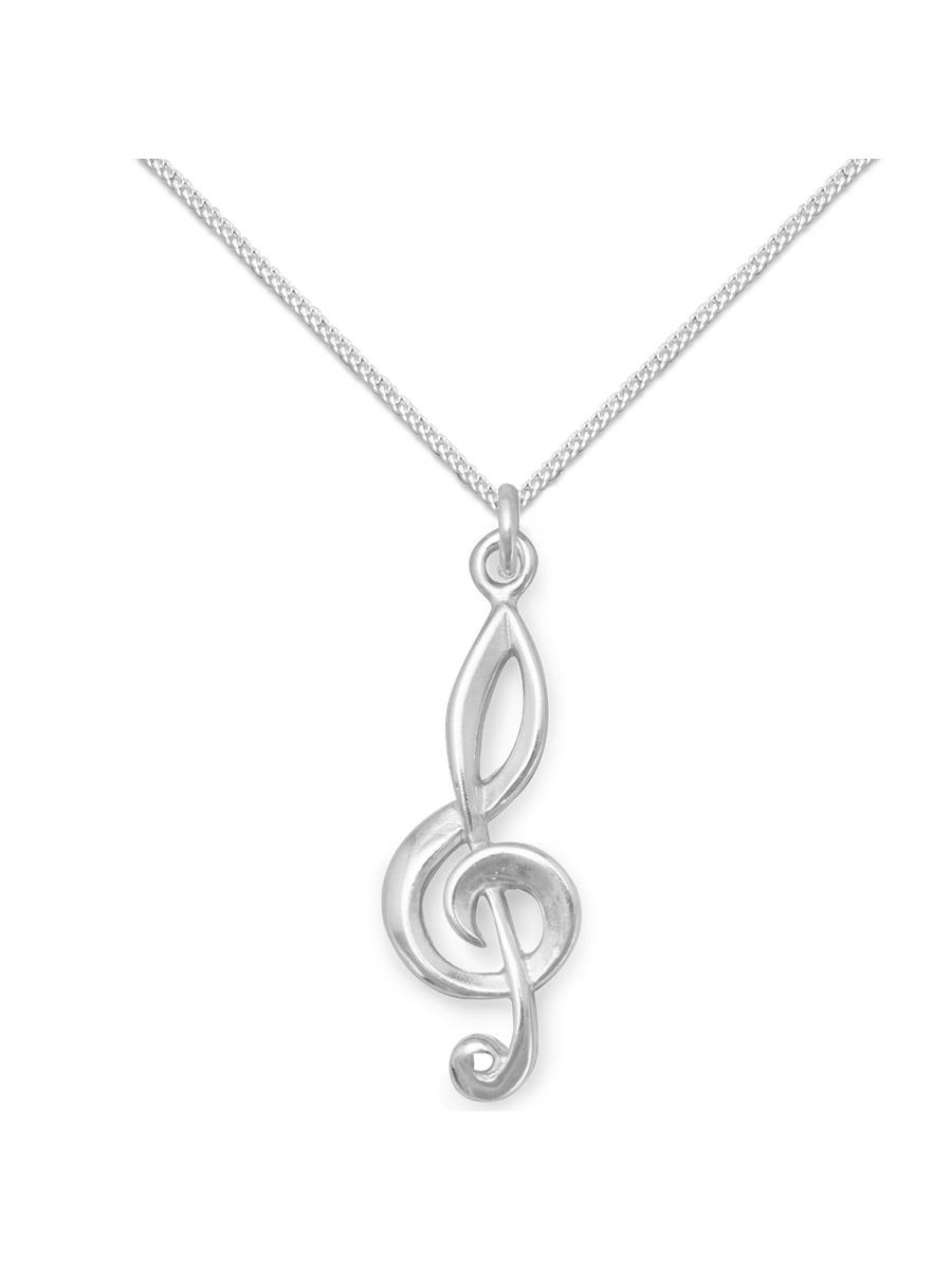 Sterling Silver 19mm Treble Clef with 7.5 Charm Bracelet Jewels Obsession Treble Clef Pendant
