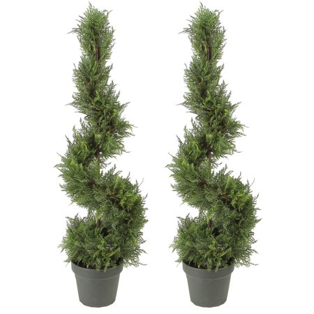 Cypress Topiary (Admired by Nature 2 x 3 Feet Artificial Cypress Leave Spiral Topiary Plant Tree in Plastic Pot, Green)