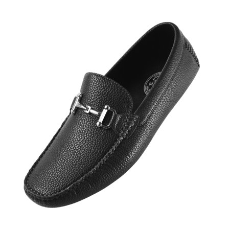 Amali Mens Classic Driving Shoe in Pebble Grain Faux Leather with Sleek Metal Bit Available in Black