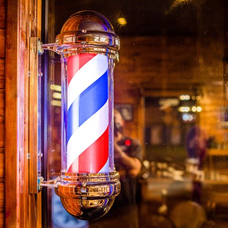Saxon Stripe (Costway 30'' Barber Shop Pole Red White Blue Rotating Light Stripes Sign Hair Salon )