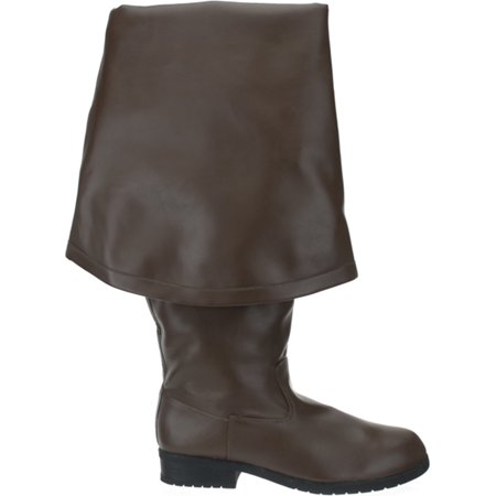 1 1/2 Inch Knee High Pirate Boot With Cuff Brown Theatre Costumes MENS - Mens Brown Pirate Boots