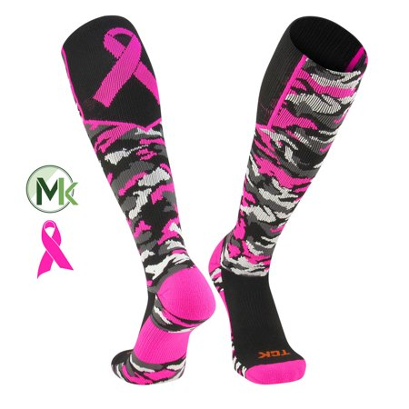 TCK Elite Breast Cancer Aware Woodland Camo Football Baseball Knee-High Socks - Breast Cancer Socks Bulk