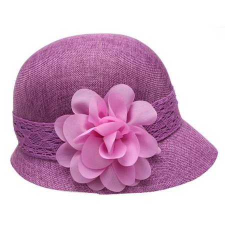 2cb2ccfec6b91e Women's Gatsby inspired Linen Cloche Hat With Lace Band And Bautiful Flower  (5 Colors Available) - Walmart.com