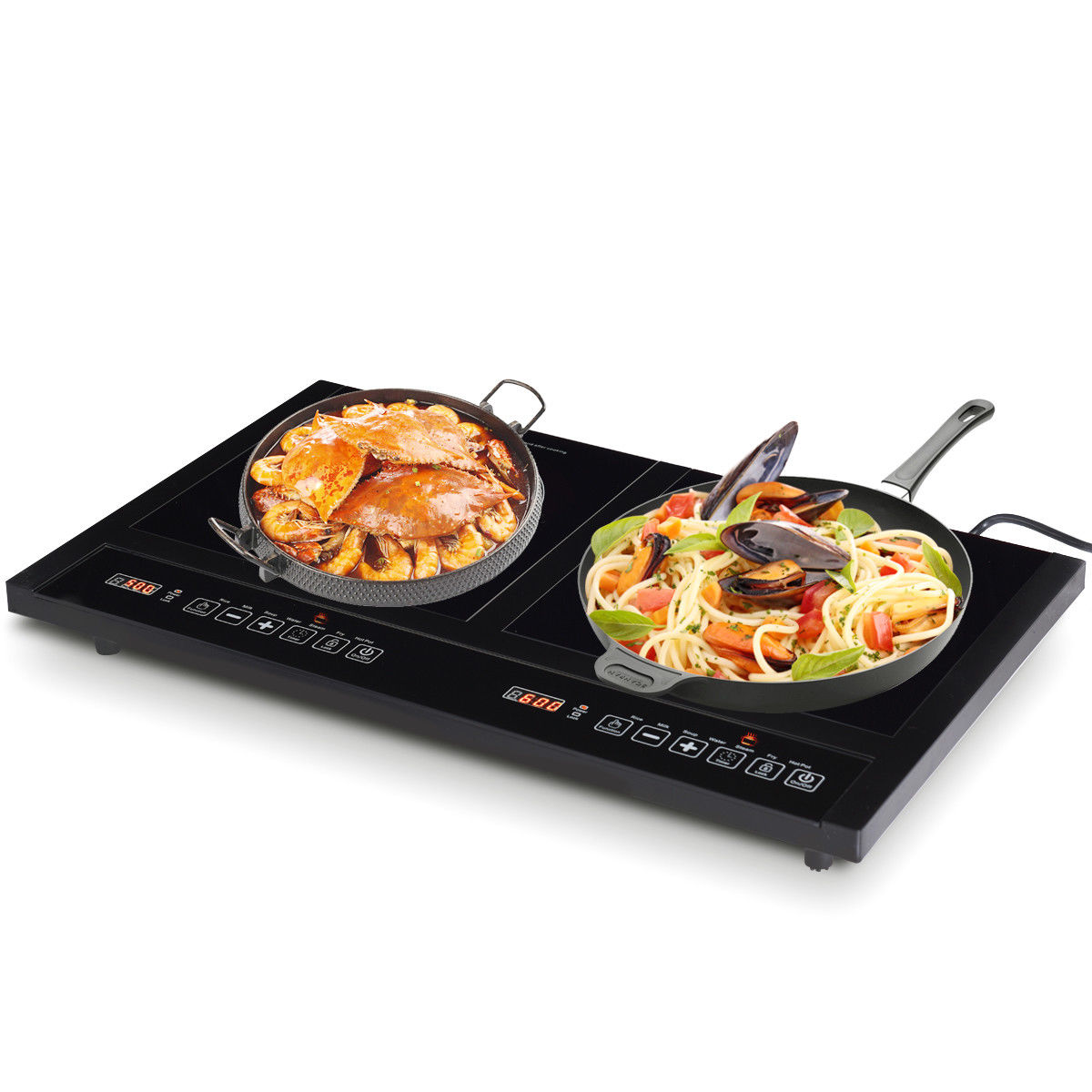 Costway Electric Dual Induction Cooker Cooktop 1800W Countertop Double Burner Portable